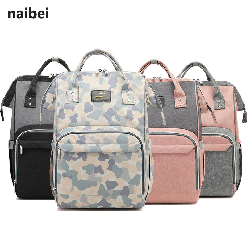 Naibei Maternity Bag Kit Fashion Mummy Multifunction Backpack For Mom Large Capacity Waterproof Baby Nappy Bags For Mom 2019