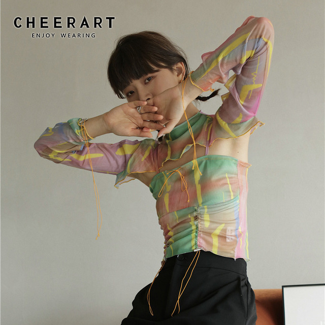 CHEERART Colorful Pink Mesh Cami Top Summer Crop Top Women Shirred Spaghetti Strap With Smocked Top 2020 Fashion Designer 1