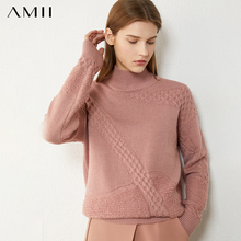 Amii Minimalism Winter Sweaters For Women Fashion Solid Women's Turtleneck Sweater Loose Woolen Female Pullover Tops 12030482