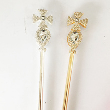Crystal Wand Gold/Silver Color Royal Princess Round Crystal Ball Scepter King Queen Bridal Wedding Party Costume Handheld Props