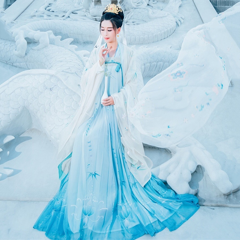 Hanfu Women Classical Dance Costume Ancient Festival Outfit Folk Fairy Dress Oriental Singer Stage Performance Clothes DF1309