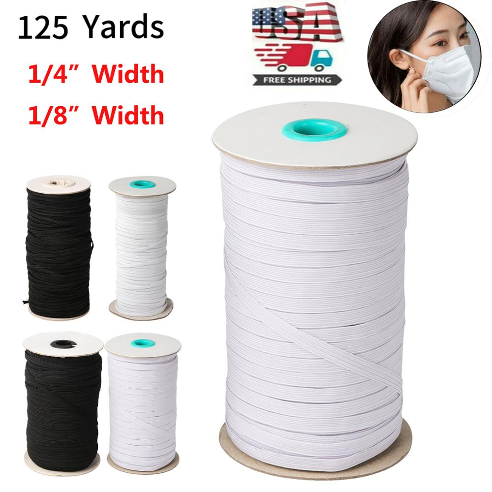 125 Yards Length DIY Braided Elastic Band Cord Knit Band Sewing 1/8 1/4 Inch 3mm/6mm
