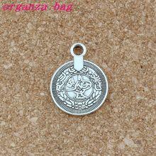Antique Silver Boho Coin Alloy charm Pendants 100Pcs/lot Fashion Jewelry DIY Fit Bracelets Necklace 17.5x 23mm A-520