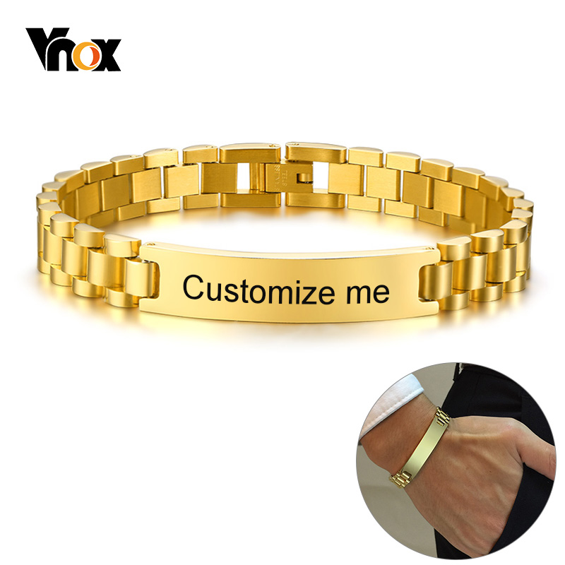 Vnox Gold Tone Stainless Steel Mens ID Bracelets Free Engraving Laser Name Date Customize Gift(China)