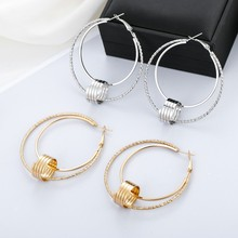 3 Color Fashion Geometric Round Hoop Earrings For Women Trendy Double Layer Big Circle Earring Female Boho Party Jewelry Gifts fashion double round small hoop earrings gold color crystal stud earrings trendy gothic earring jewelry gifts for women