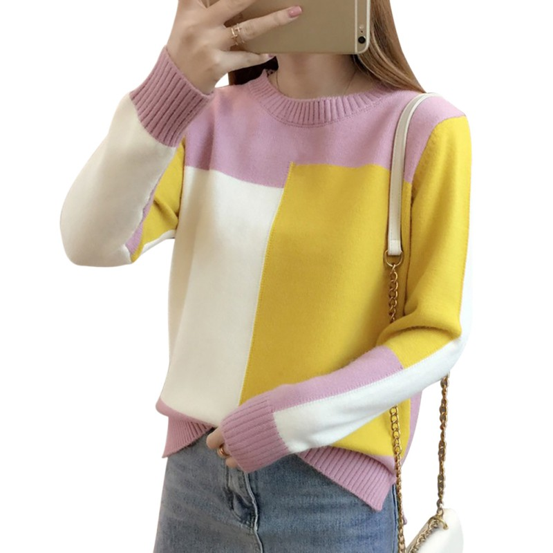 Autumn Winter Round Neck 2019 Sweet Women Long Sleeve Colorblock Pullover Warm Candy Color Knitted Sweater Pullover