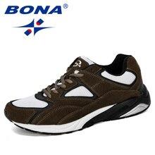 BONA 2019 yeni tasarımcı erkek Sneakers nefes Krasovki ayakkabı adam süper hafif rahat ayakkabılar erkek Tenis Masculino eğlence ayakkabı