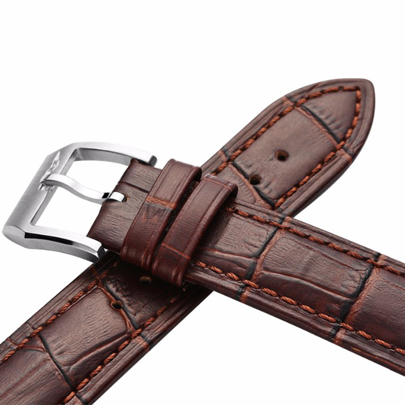 22mm  Leather Strap GUANQIN Original Fashion Watch Black Brown For Guanqin 16036