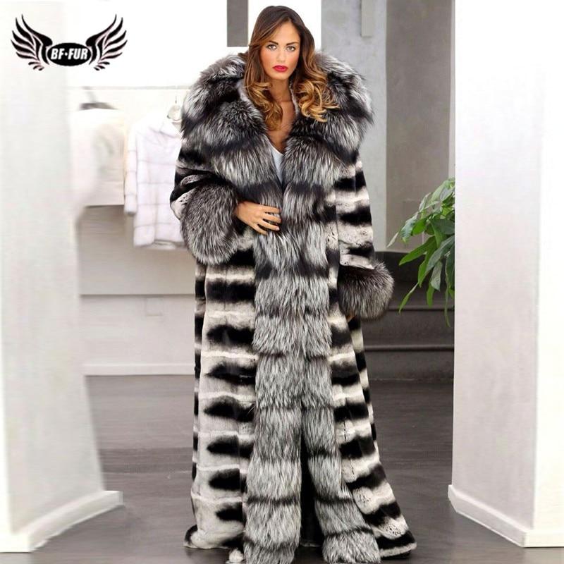 140cm Long Women Real Chinchilla Rex Rabbit Fur Coat Big Hood Wholeskin Thick Warm Genuine Rabbit Jacket With Sliver Fox Collar