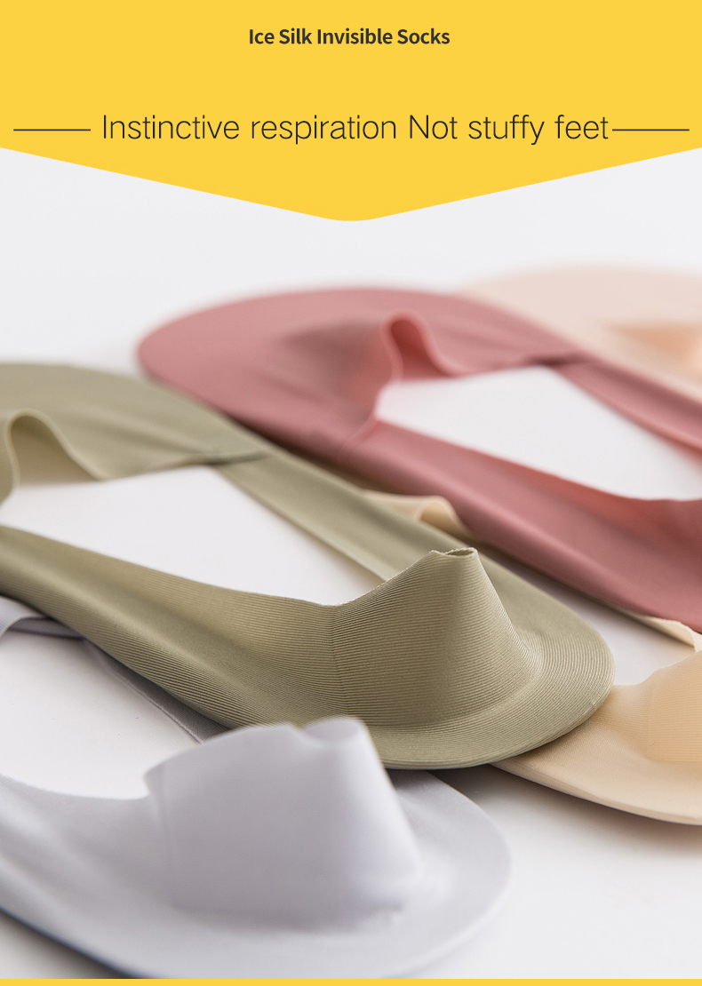 Free Cut Non Slip Ice Silk Socks 5 Pairs