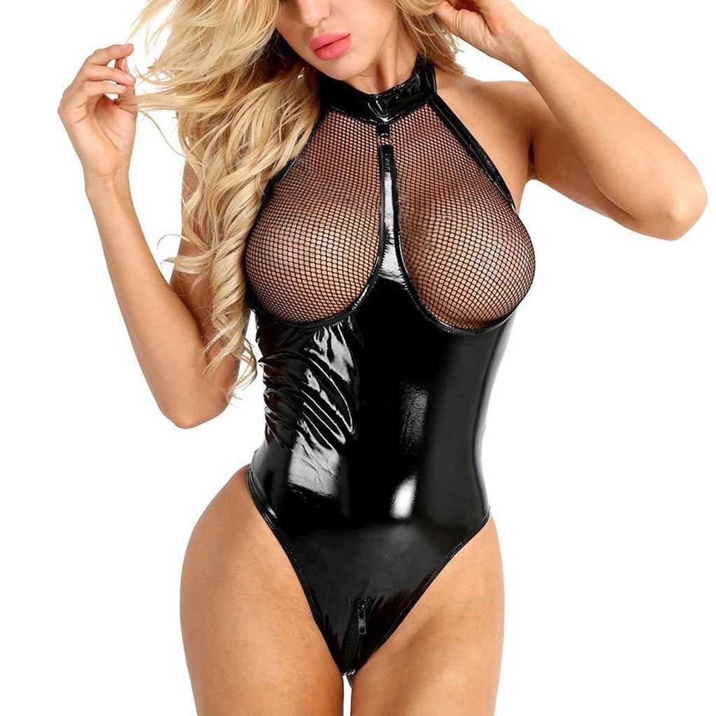 Plus Size Womens Sexy Leather Lace Lingerie Underwear Porno Transparent Babydoll Sleepwear Sexy Teddy Nightgown