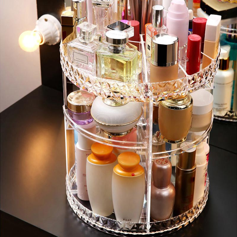 Rotating Acrylic Transparent Cosmetic Storage Box with Multi layer for Daily Use DC112