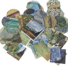 Mini autocollant en papier peinture à l'huile Van Gogh, étiquette Scrapbooking, mignon Kawaii, ensemble de papeterie pour décoration d'album, journal intime, DIY bricolage, 45 pièces