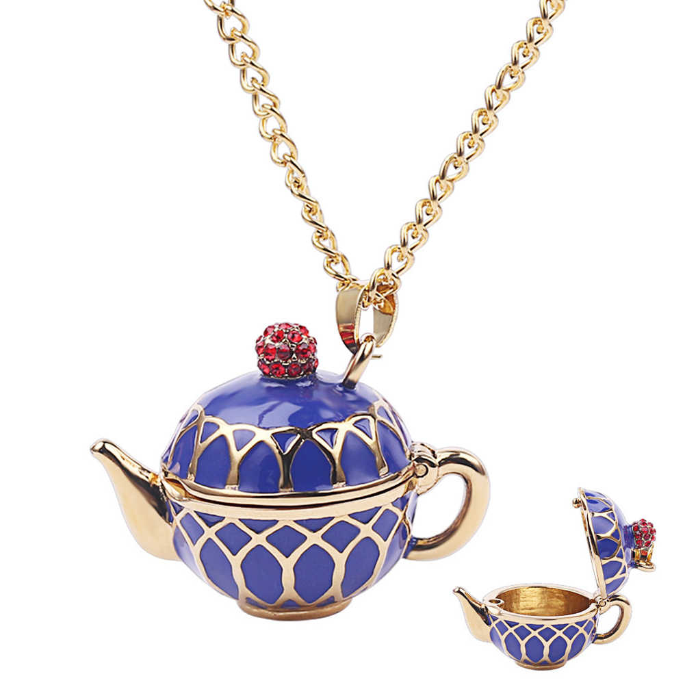 Teapots Pendant Long Chain Necklace Choker Jewelry Earring Accessories Gifts for Women LXH