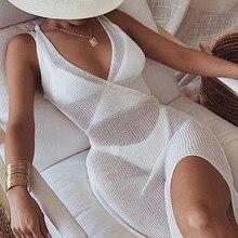 2021 verão branco de malha praia vestido feminino férias sexy nadar biquinis cobrir ups vestidos sem costas maxi robe plage beachwear