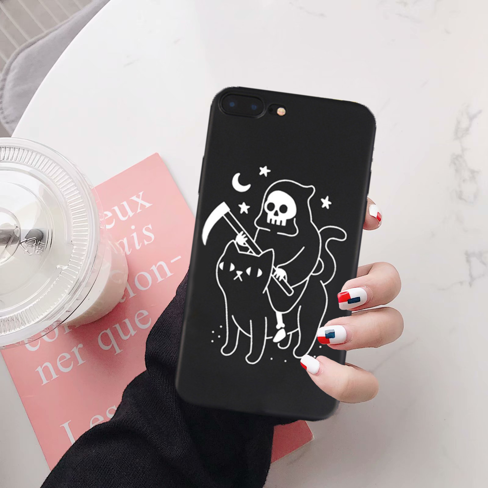 GYKZ Death Rides Black Cat Phone Case For iPhone XS MAX XR X 7 6 6s Plus Fashion Soft Matte Back Cover Samsung Galaxy S8 S9