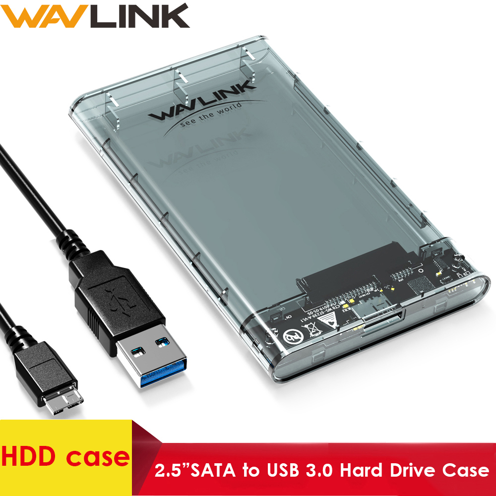 """Wavlink HDD/SSD case SATA to USB 3.0 Hard Drive Box for 2.5"""" HDD SSD up to 2TB 5Gbps External HDD Enclosure UASP protocol Case(China)"""