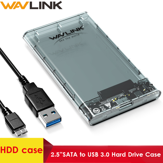 """Wavlink HDD/SSD case SATA to USB 3.0 Hard Drive Box for 2.5"""" HDD SSD up to 2TB 5Gbps External HDD Enclosure UASP protocol  Case"""