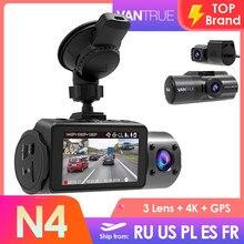 Vantrue n4 3 lente do carro dvr câmera 4k + 1080p 1080p velocidade gravador de vídeo gps dashcam traço cam hd carro registrador spuer visão noturna