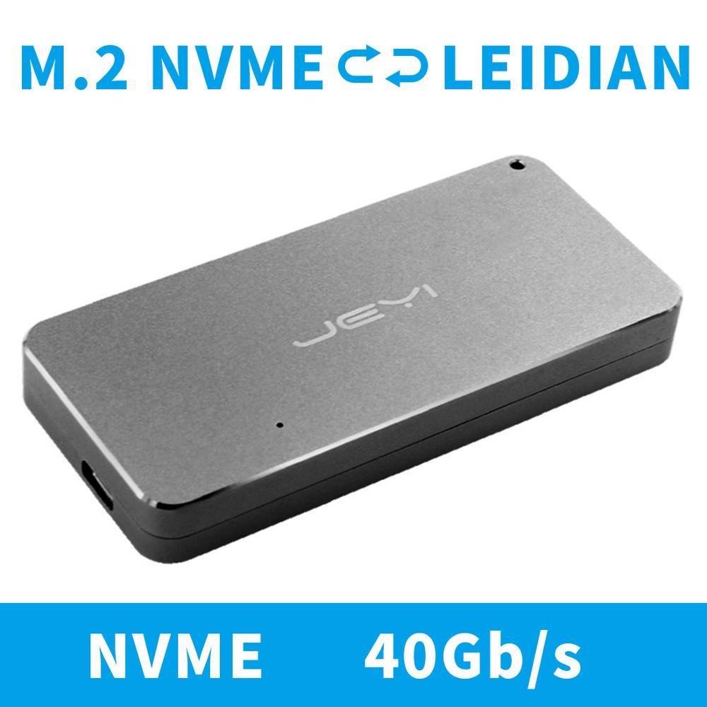 JEYI M.2 Nvme Enclosure HDD Box Case NVME TO TYPE-C CNC Aluminium TYPE C 3.1 M2 USB3.1 M.2 PCIE U.2 SSD Adapter Thunderbolt 3