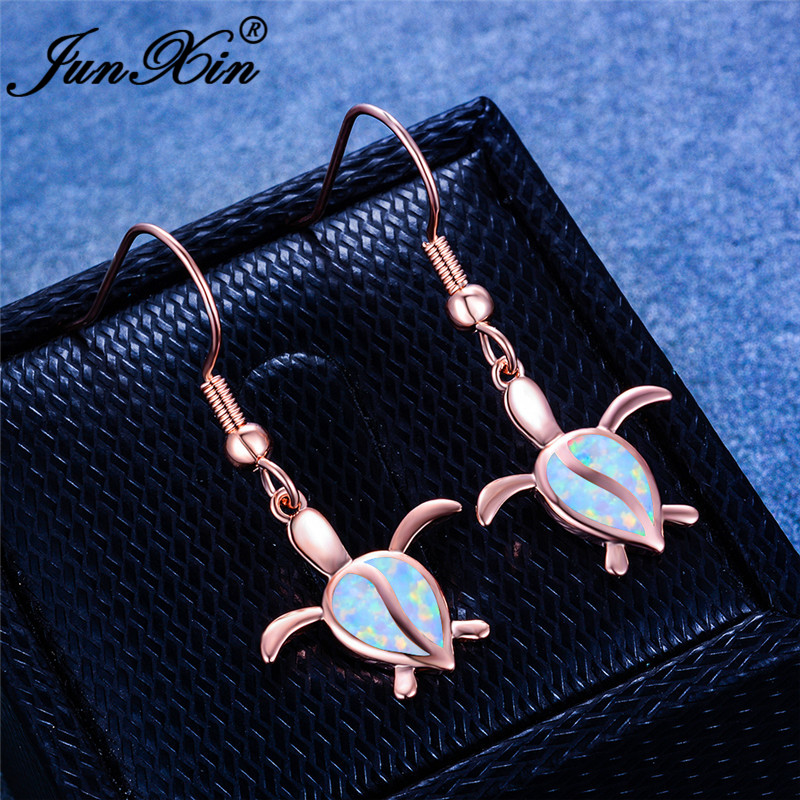 Pear Cut Water Drop White Fire Opal Earrings White Gold Rose Gold Color Cute Animal Turtle Dangle Earrings For Women Jewelry