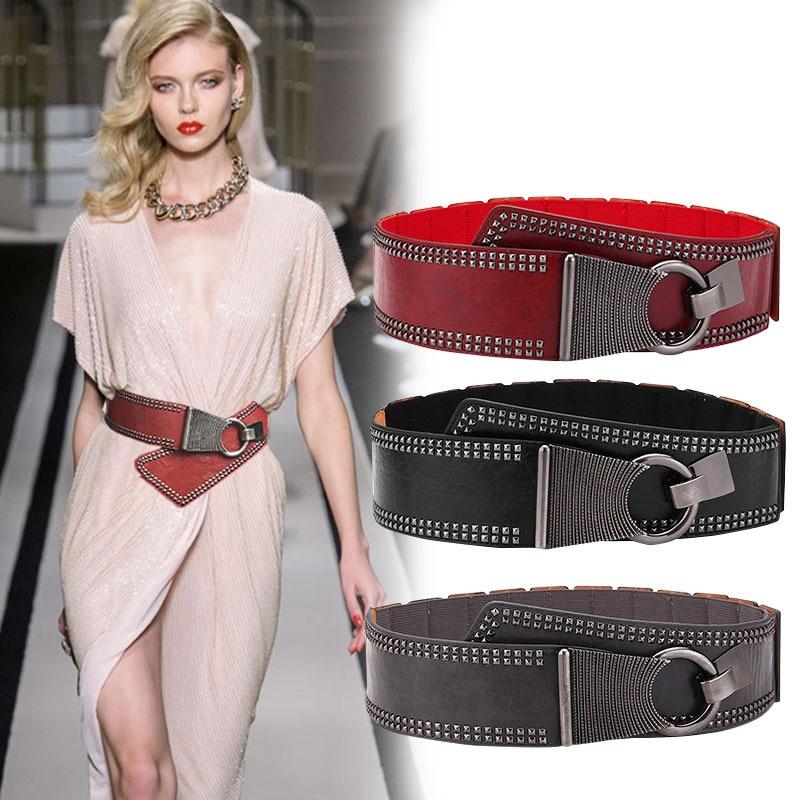 Punk Belt Women Waist Corset Belt Plus Size Wide Cummerbund Elastic Slim Body Shaper Faux Leather Fashion Rivet Designer Riem