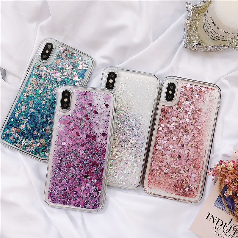 Glitter Phone <font><b>Case</b></font> For <font><b>OPPO</b></font> <font><b>A5</b></font> <font><b>2020</b></font> A11X Dynamic Liquid Quicksand Protective <font><b>Case</b></font> For <font><b>OPPO</b></font> A9 <font><b>2020</b></font> Love Heart Back Cover Coque image