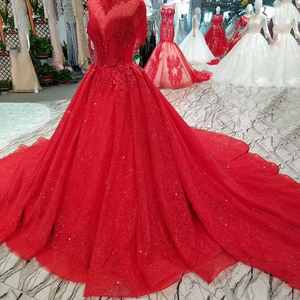 Image 4 - LSS106 אדום ציצית מסיבת חתונה כלה גבוהה צוואר חרוזים שרוולים גב פתוח אונליין שמלה לנשף משלוח חינם חדש הגעה