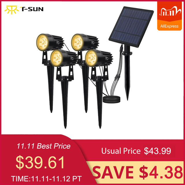 T SUNRISE 4 PCS LED Solar Light IP65 Waterproof Outdoor Landscape Lamps Auto ON/OFF Solar Wall Lights for Garden Solar Lamp