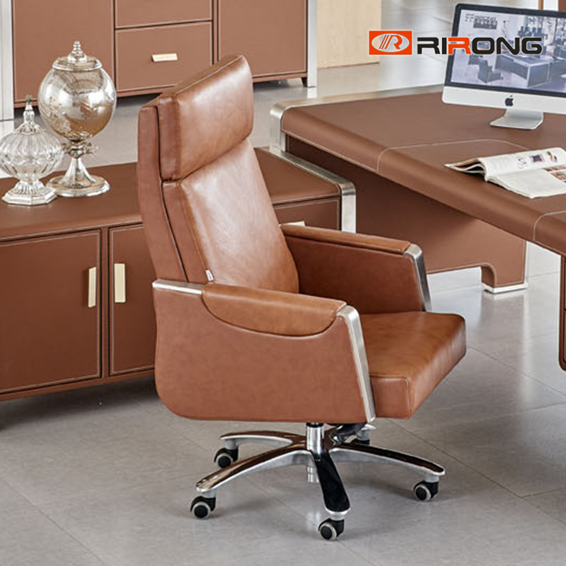 Big Boss Luxury Home Office Executive Manager Brown Leather Movable Swivel Office Chair Meeting Conference  Chair