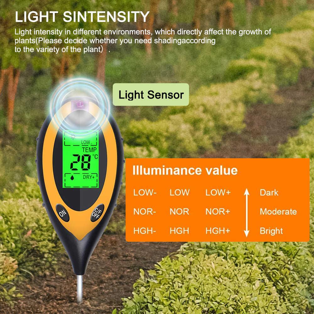 3 / 4 / 5 в 1 прибор для измерения уровня PH тестер измеритель влажности Температура влажности светильник солнечный светильник завод почвы тестер измерения анализа
