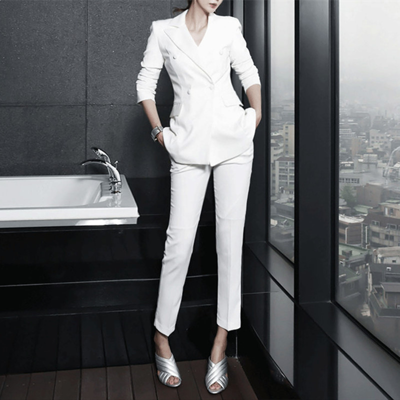Spring Female Suit Ms Han Edition Suit Jacket Long Sleeve Fashion Asymmetric Suit Nine Minutes Of Pants Two-piece Set Outfit