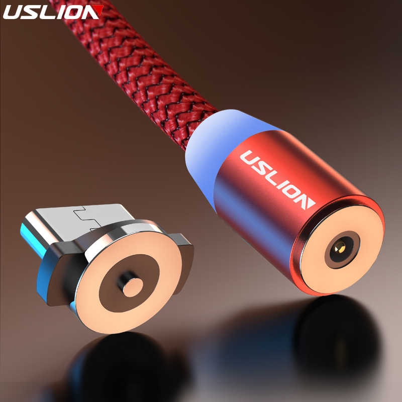 USLION 3M Magnetic Micro USB Cable For Samsung Android Mobile Phone Type-c Charging For iPhone XS XR 8 Magnet Charger Wire Cord