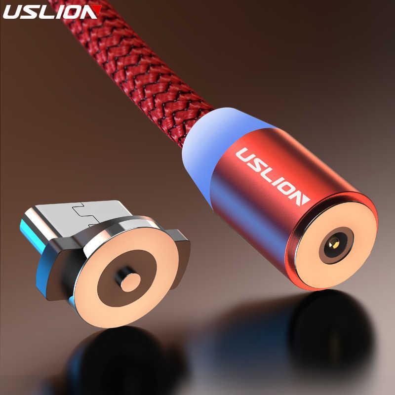 USLION 3M المغناطيسي مايكرو كابل usb لسامسونج شاحن هاتف محمول يعمل بنظام تشغيل أندرويد نوع-c شحن ل فون XS XR 8 المغناطيس شاحن سلك الحبل