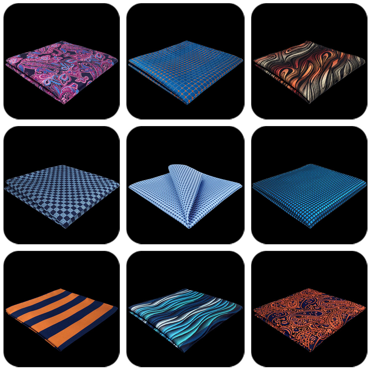 Paisley Mens Pocket Square Silk Classic Party Hanky Business Gift Wedding Floral Handkerchief