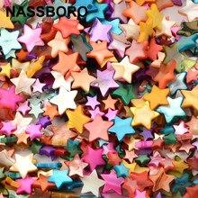 Colori misti madreperla naturale conchiglia stella a cinque punte pentagramma perline circa 39CM Per filo accessori fai da te