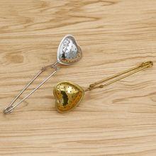 Сито для заварки чая нержавеющая стальная длинная ручка в форме сердца сетка травяной чай кофе травы сито для приправ диффузор