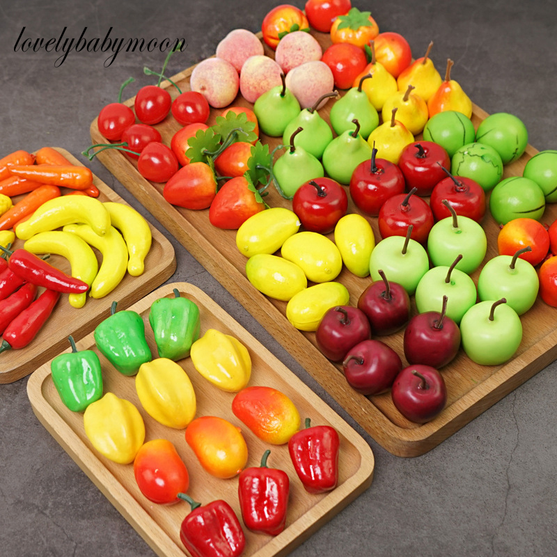 10/20/30pcs/lot Mini Simulation Foam Fruit And Vegetables Artificial Kitchen Toys For Children Pretend Play Dollhouse Accessorie
