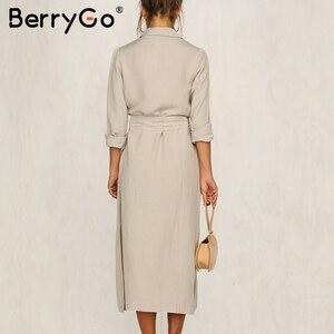Image 3 - BerryGo Streetwear ארוך שרוול נשים שמלת דש קשת loose כותנה שמלה אלגנטית משרד ליידי עבודה ללבוש סתיו חורף רטרו שמלה