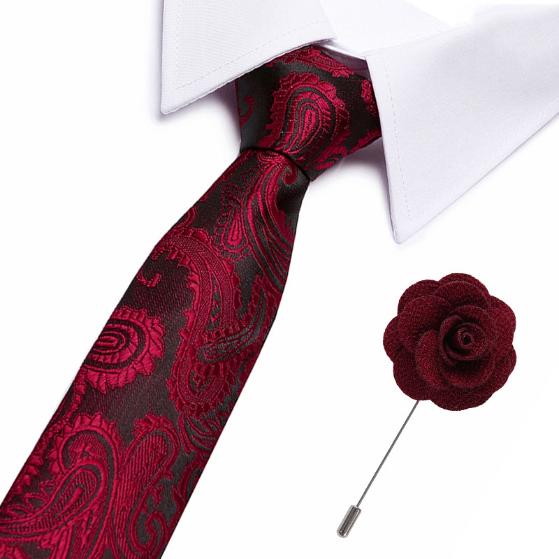 New Fashion Floral Tie Men's 7.5 Cm Silk Necktie Brooch Set Blue Green Gray Red Wedding Solid Tie Men Classic Necktie