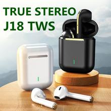 Nowe oryginalne słuchawki J18 TWS Bluetooth Stereo True bezprzewodowe słuchawki douszne w uchu słuchawki do zestawu głośnomówiącego pąki na telefon komórkowy tanie tanio MouZYuan Dynamiczny CN (pochodzenie) wireless do telefonu komórkowego Sport NONE instrukcja obsługi Etui ładujące Kabel do ładowania