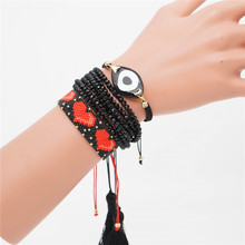 Go2boho Turkish Evil Eye Bracelet MIYUKI Red Heart For Women Boho Jewelry Pulseras Mujer 2019 Tassel Handmade Design