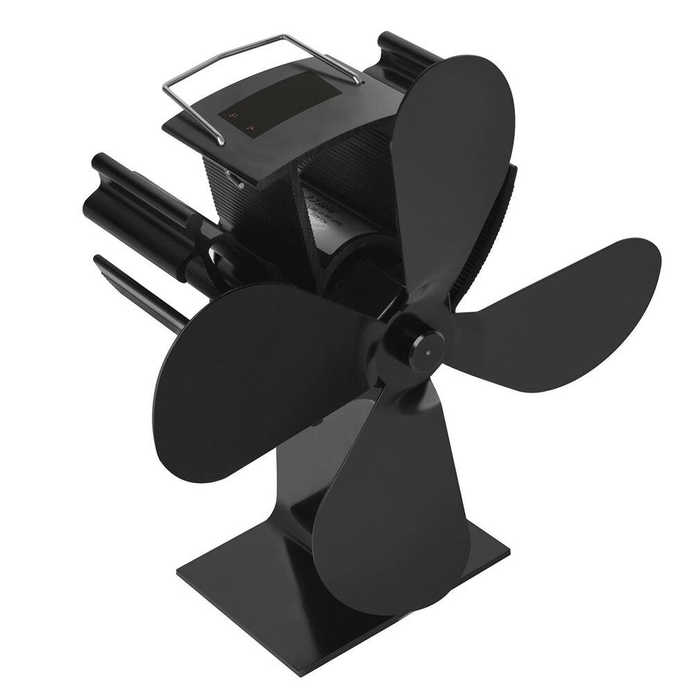 4 Wings Thermodynamic Stove Fan Heat Powered Home Wood Burner Rustproof Circulate Warm Temperature Display Eco-friendly