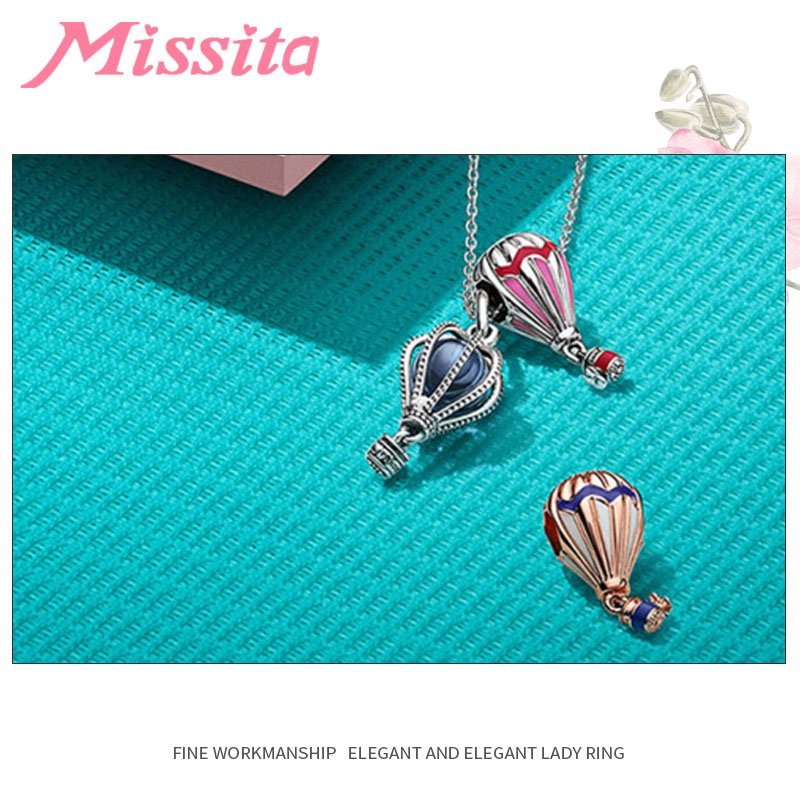 MISSITA Women Hot Air Balloon Charm fit Pandora Bracelets Necklaces for Jewelry Making Ladies Jewelry Accessories in Charms from Jewelry Accessories