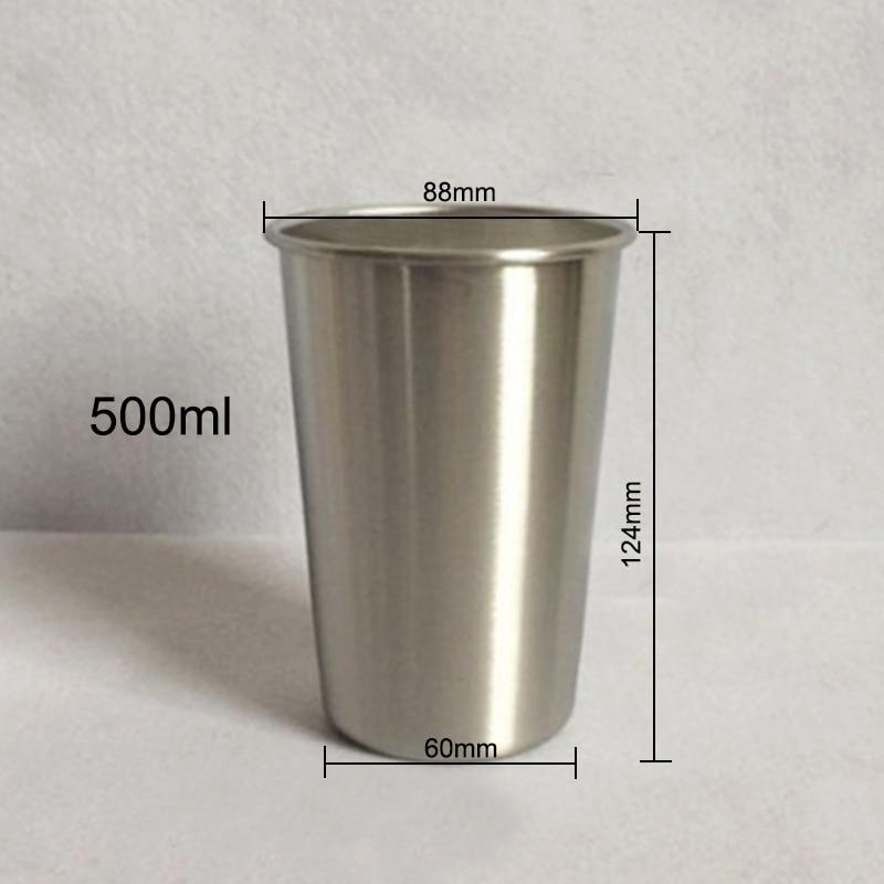 350//500ml Stainless Steel Cup Mug Drink Coffee Beer Tumbler Camp Travel Metal