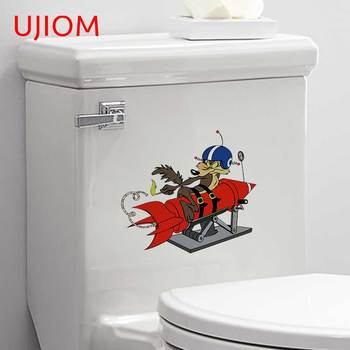 UJIOM Funny Wile E Coyote Rocket Logo Bathroom Kitchen Toilet Sticker Home Decoration Decals PVC Mural Art Wall Stickers image