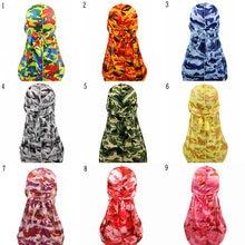 Turbante sedoso de camuflaje para hombre, bandanas con estampado de seda, accesorios para el cabello, gorro de pirata, Trapos de olas, Unisex