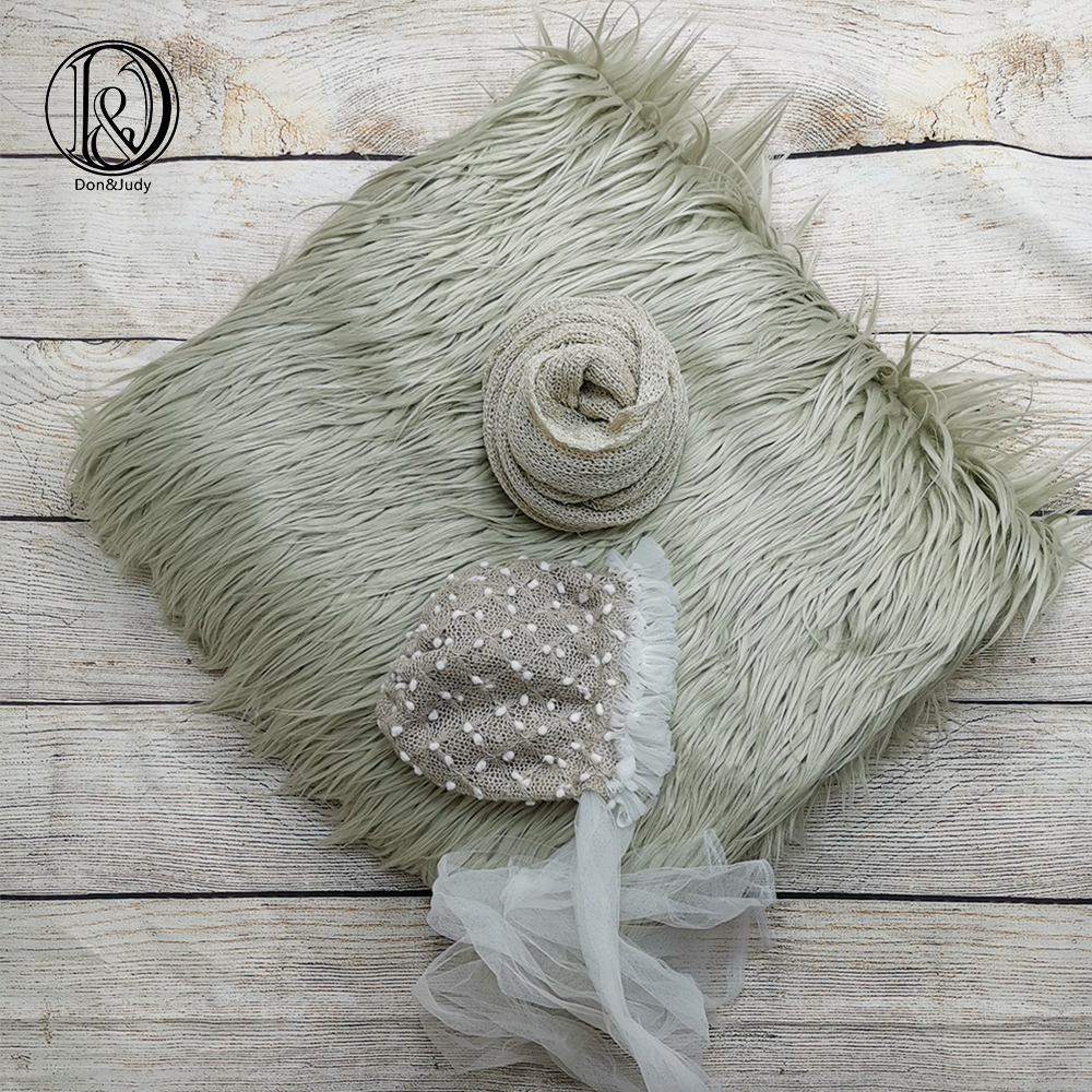 Don&Judy 3pcs/set 150x100cm Faux Fur Blanket + Hat + Wrap Photography Prop Newborn Background Backdrop Photo Shoot Props