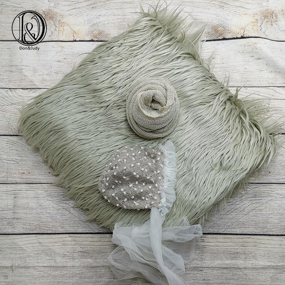 Don&Judy 3pcs/set 150x100cm Faux Fur Blanket + Hat + Wrap Photography Prop Newborn Background Backdrop Photo Shoot Props