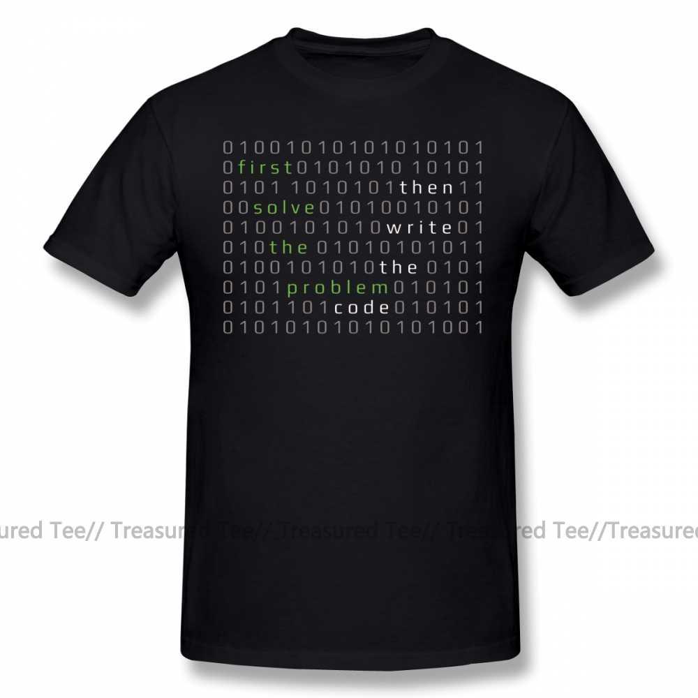 T camisa desenvolvedor primeiro resolver o problema, em seguida, escrever o código camiseta masculino praia camiseta engraçado 6xl gráfico algodão tshirt